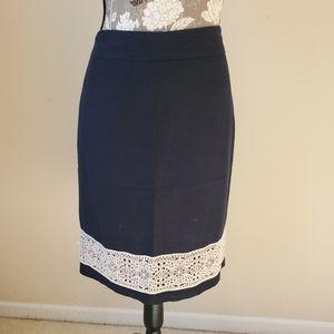 Ann Taylor Linen Blend Navy Pencil Skirt Sz. 8